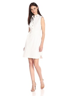 Ellen Tracy Women's Sleeveless Belted Shirt Dress