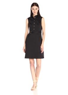 Ellen Tracy Women's Sleeveless Belted Shirt Dress