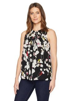 ELLEN TRACY Women's Sleeveless Blouse with Grommet/Tie  XS