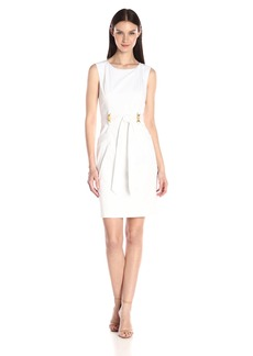 Ellen Tracy Women's Sleeveless Boat Neck Dress with Front Tie