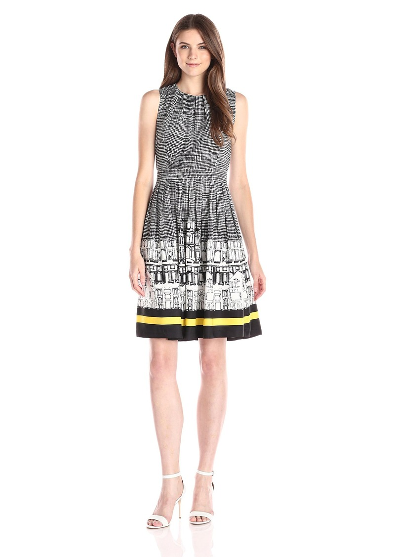 ELLEN TRACY Women's Sleeveless City Scape Print Fit and Flare