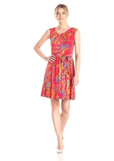 Ellen Tracy Women's Sleeveless Cowl Neck Printed Self Tie Dress