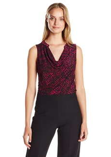 ELLEN TRACY Women's Sleeveless Drape Neck Solid Top