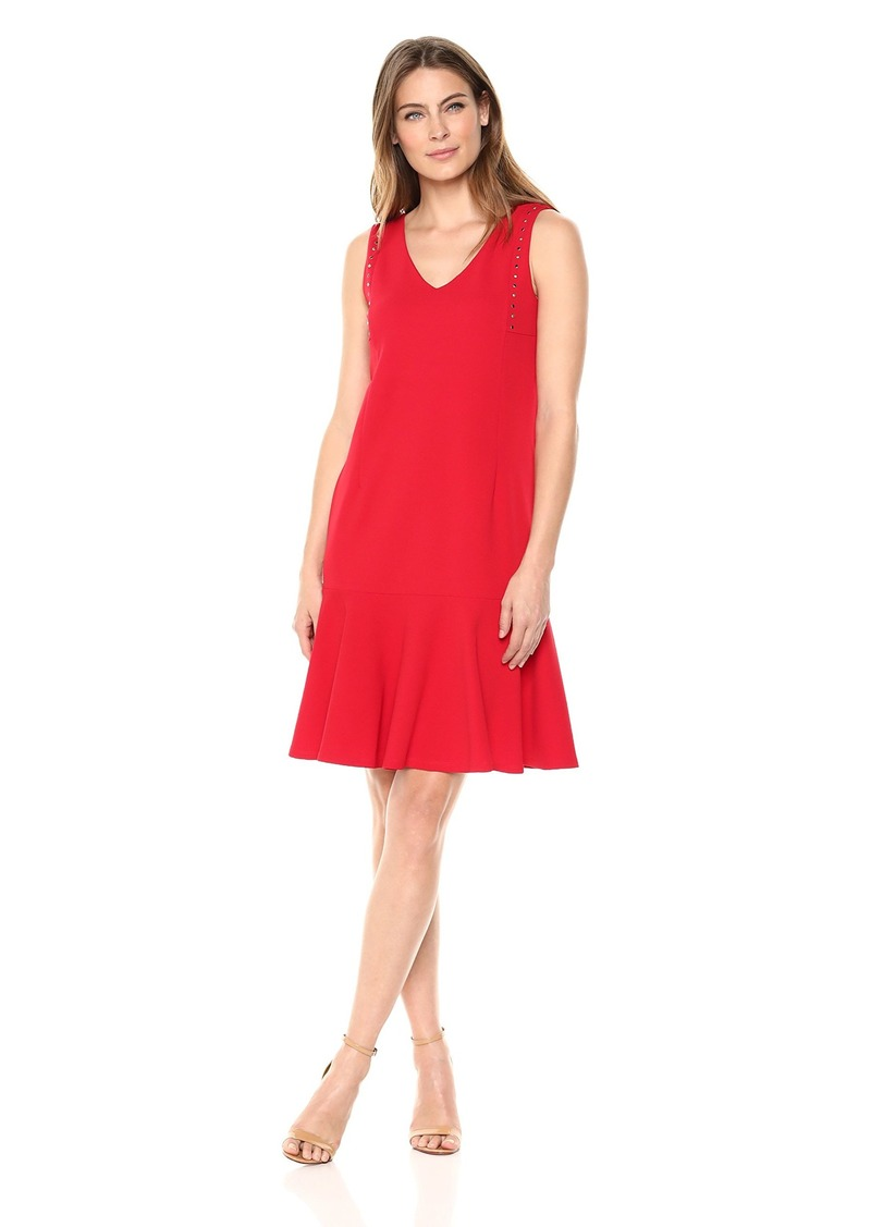 ELLEN TRACY Women's Sleeveless Dress with Flouncy Hem  S