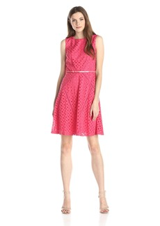 Ellen Tracy Women's Sleeveless Eyelet Belted Fit and Flare Dress