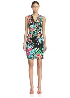 Ellen Tracy Women's Sleeveless Faux-Wrap Dress