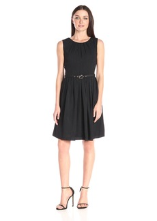 Ellen Tracy Women's Sleeveless Fit and Flare Dress with Belted Waist