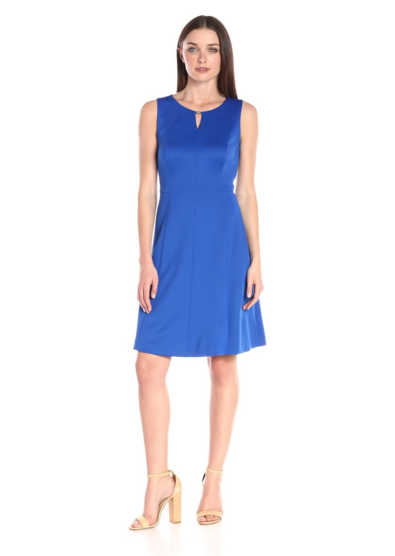 Ellen Tracy Women's Sleeveless Fit and Flare Dress with Kehole at Neckline