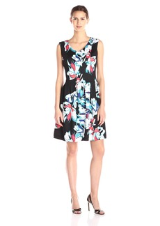 Ellen Tracy Women's Sleeveless Fit-And-Flare Floral-Print Dress