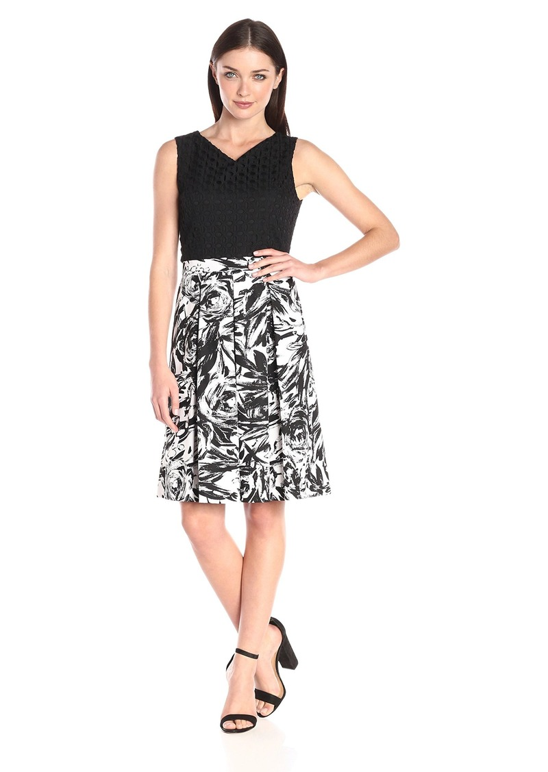 Ellen Tracy Women's Sleeveless Fit and Flare with Printed Skirt