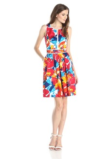 Ellen Tracy Women's Sleeveless Floral Printed Fit and Flare Dress