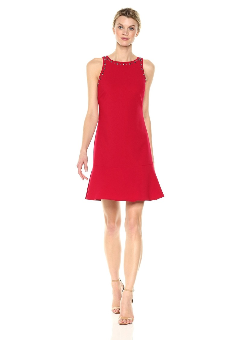 ELLEN TRACY Women's Sleeveless Flounce Hem Dress