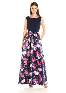 Ellen Tracy Women's Sleeveless Gown with Printed Skirt and Sash