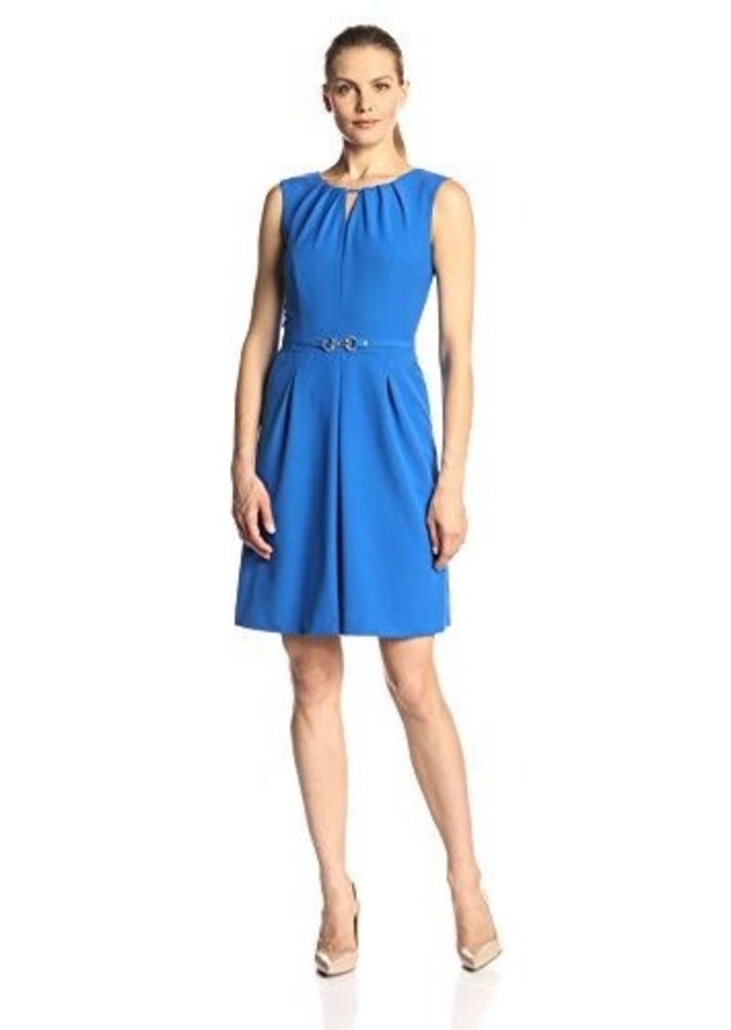 Ellen Tracy Women's Sleeveless Keyhole-Front Buckle Dress