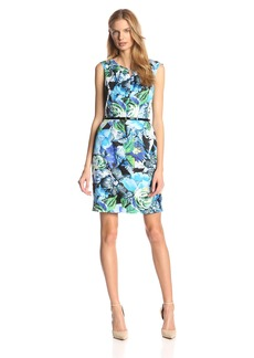 Ellen Tracy Women's Sleeveless Keyhole Printed Dress