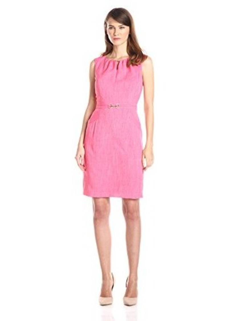 Ellen Tracy Women's Sleeveless Keyhole Sheath Dress, Salmon, 14