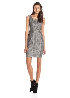 Ellen Tracy Women's Sleeveless Metallic Snake Print Dress