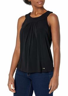 ELLEN TRACY Women's Sleeveless Pleat Front Halter Top E-Black L