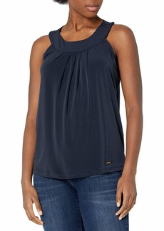 ELLEN TRACY Women's Sleeveless Pleat Front Halter Top  XL