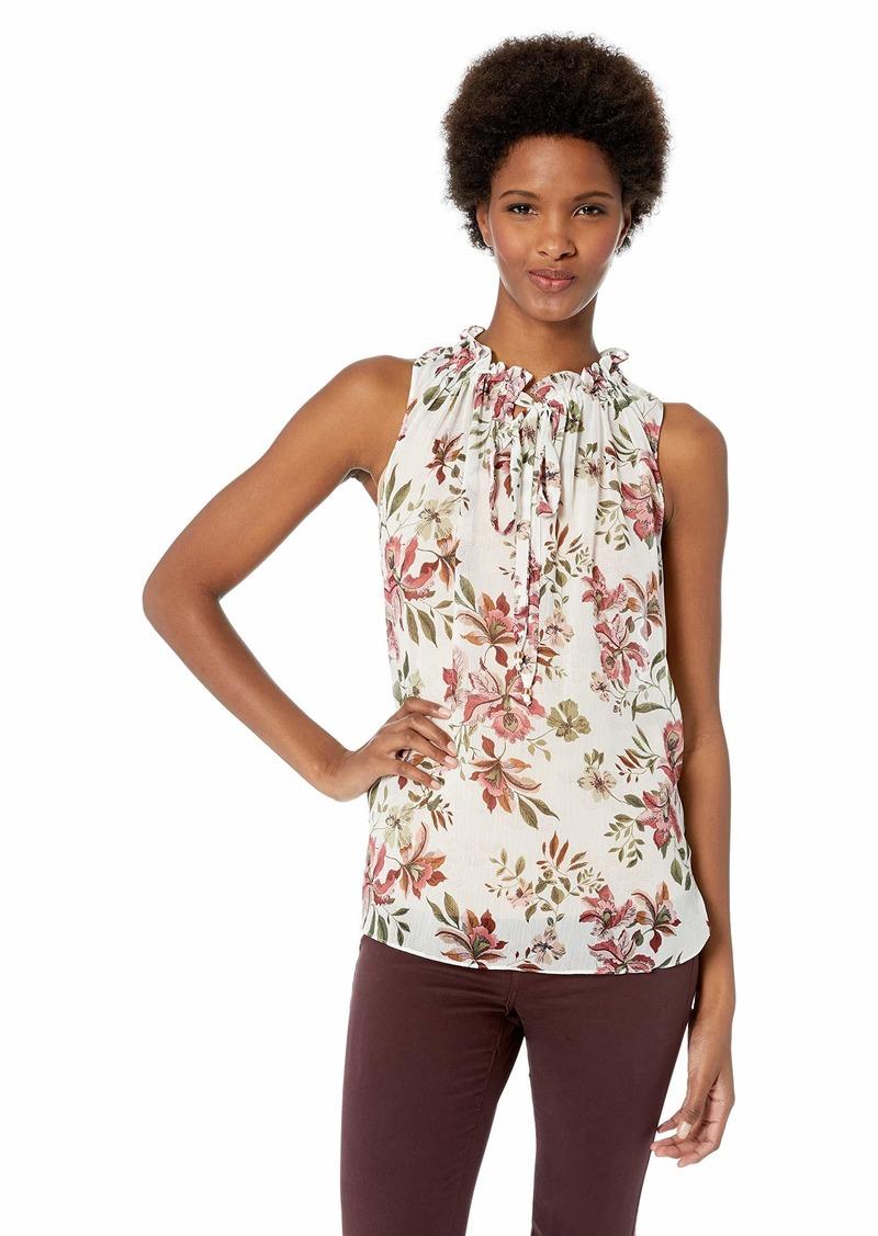 ELLEN TRACY Women's Sleeveless Ruffle Collared Top Silk red Blossom/Cream XL
