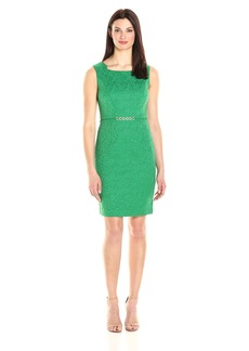 Ellen Tracy Women's Sleeveless Sheath Dress with Embellishment AT Waistline