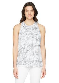 Ellen Tracy Women's Sleeveless Top with Flouncy Overlay Whitney-E White XL