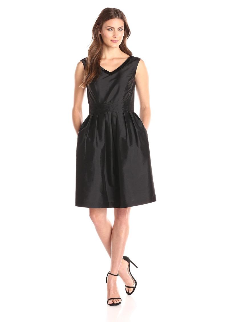 ELLEN TRACY Women's Sleeveless V Beaded Neck Fit and Flare