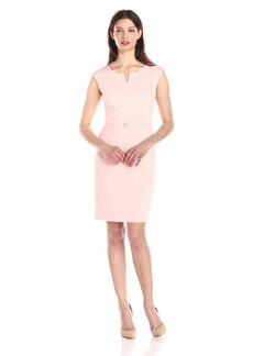 Ellen Tracy Women's Sleeveless V Neck Sheath Dress