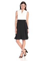 ELLEN TRACY Women's Sleevless Fit and Flare Dress with V-Neck and Belt