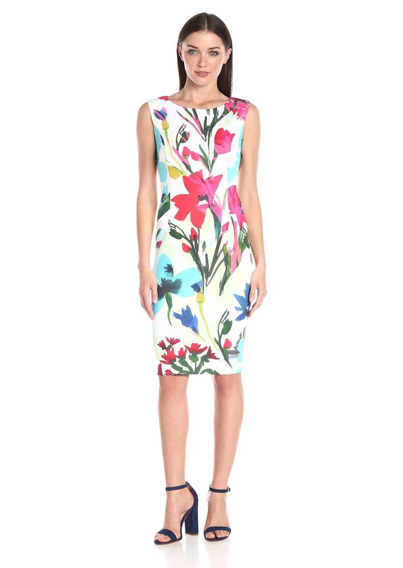 Ellen Tracy Women's Sleevless Printed Scuba Dress