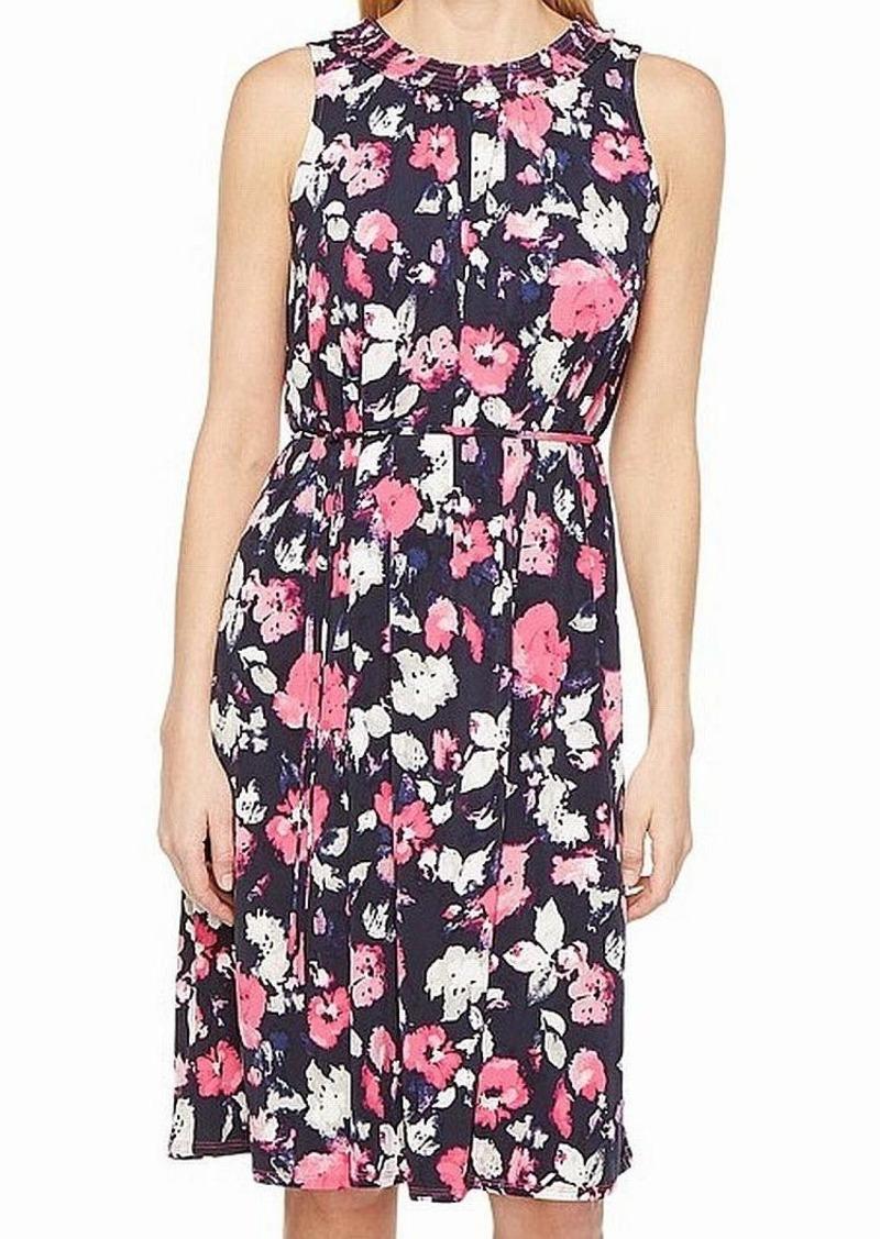 ELLEN TRACY Women's Smocked Self-tie Dress  S