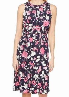 ELLEN TRACY Women's Smocked Self-tie Dress  L