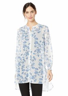 ELLEN TRACY Women's Smocked Sleeve Tunic Floral SKTCH/Cream/Silver L