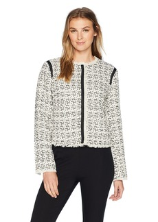 ELLEN TRACY Women's Snap Front Jacket with Fringe  M