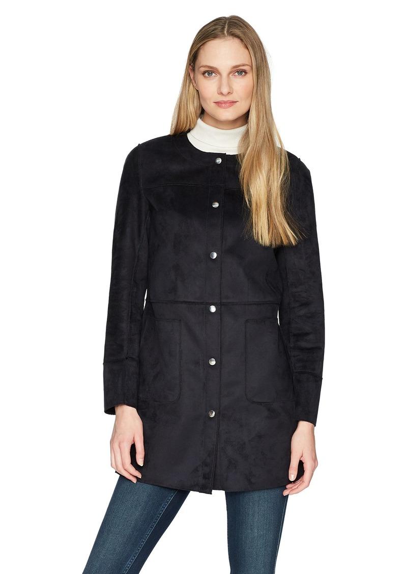 ELLEN TRACY Women's Snap Front Reversible Suede Coat  M