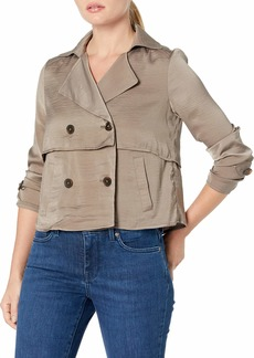 ELLEN TRACY Women's Soft Cropped Trench sea Grass