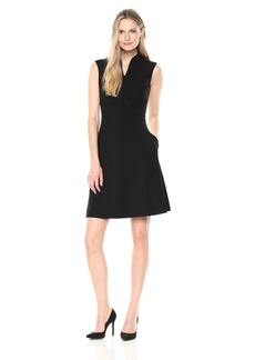 Ellen Tracy Women's Solid a-Line Dress with Front Zipper