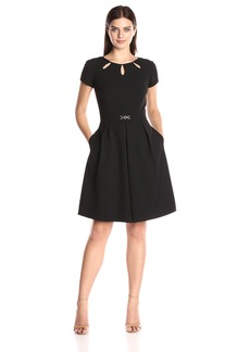 Ellen Tracy Women's Solid Bistretch Dress with Cutout and Harware Detail