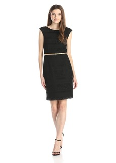 Ellen Tracy Women's solid black Crochet dress with Self Belt