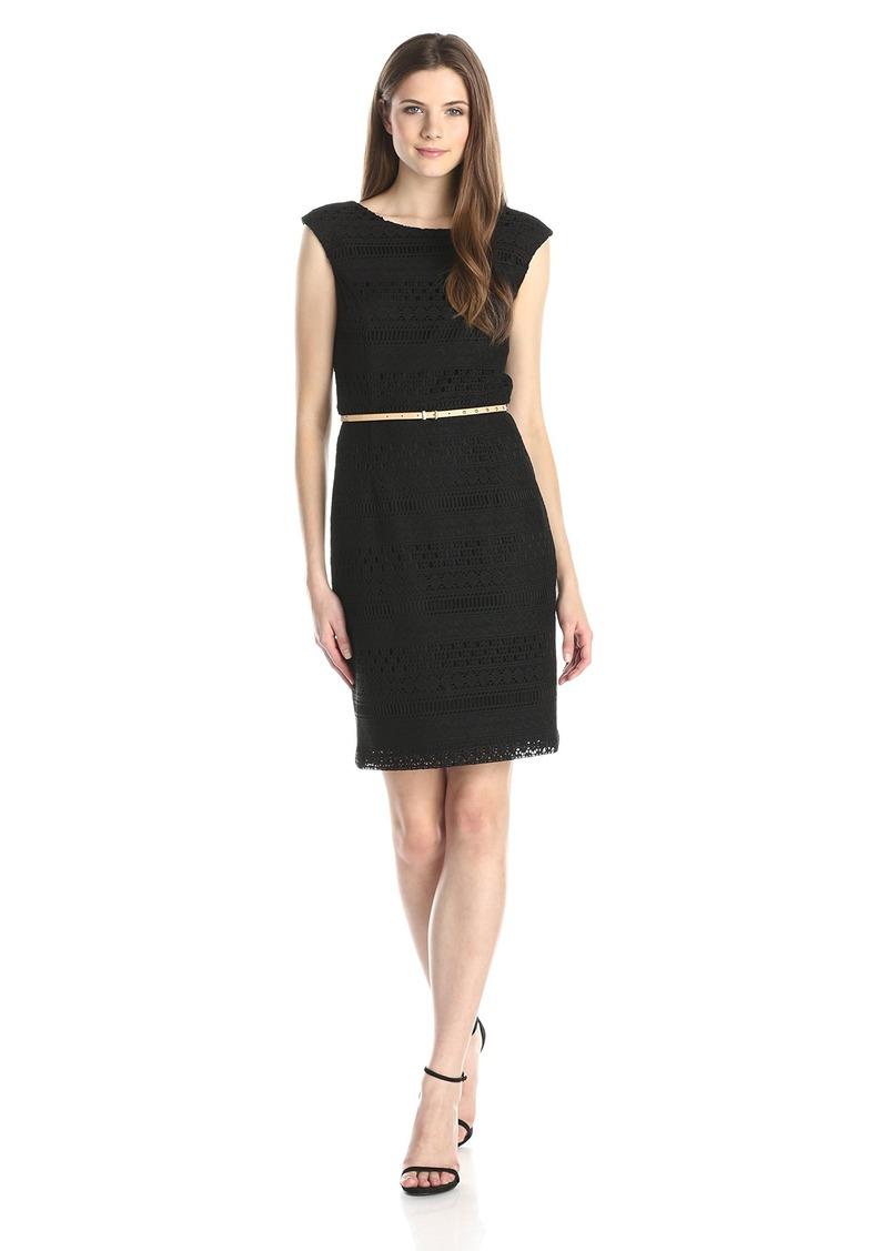 Ellen Tracy Women's solid black Crochet dress with Self Belt