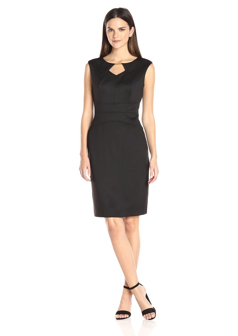 ELLEN TRACY Women's Solid Scuiba Dress with Keyhole Detail and Hardware at The Neckline