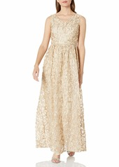 ELLEN TRACY Women's Soutache V Neck Cocktail Gown