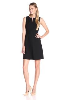 Ellen Tracy Women's Split Neck a-Line Dress