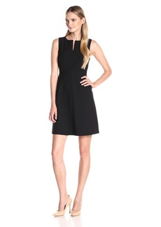 Ellen Tracy Women's Split Neck a-Line Dress EL Black