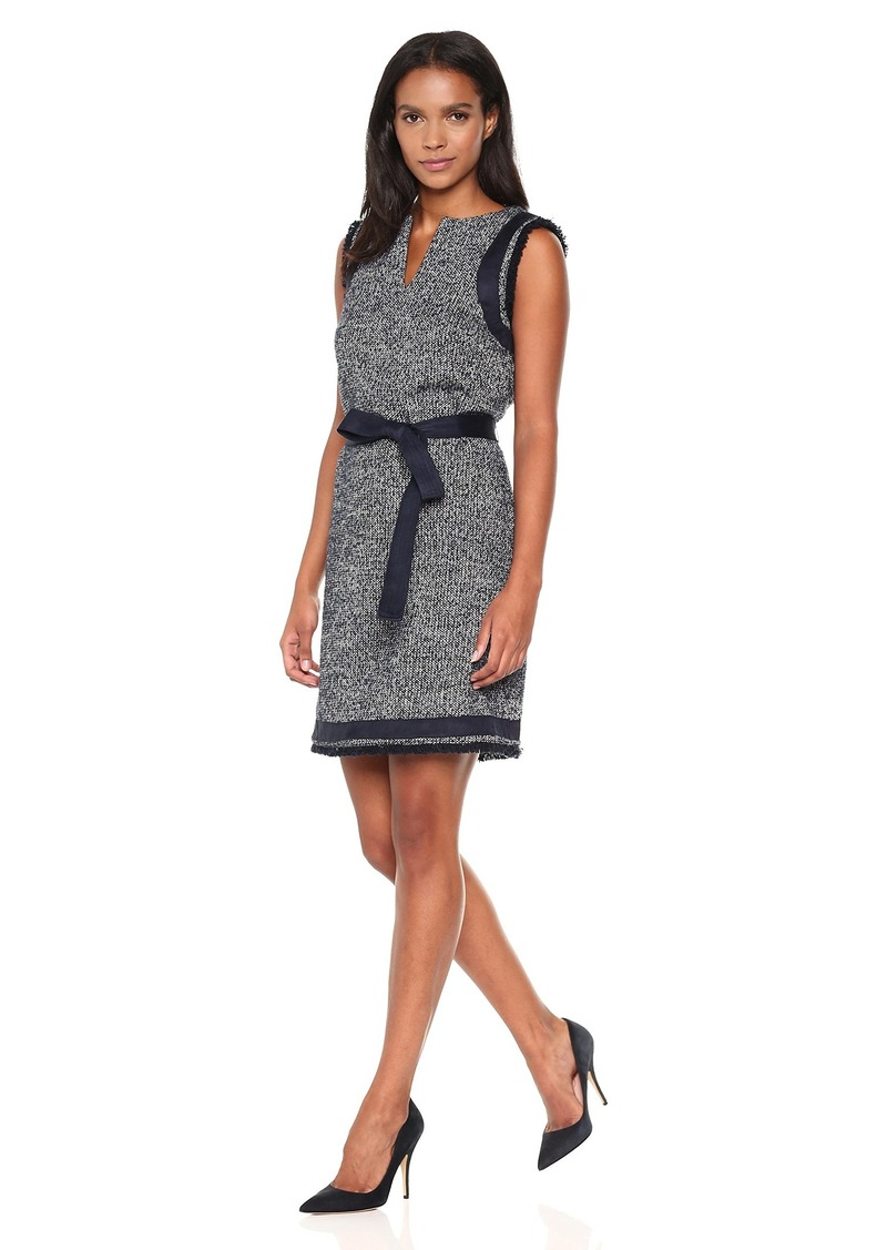 ELLEN TRACY Women's Split Neck Shift Dress