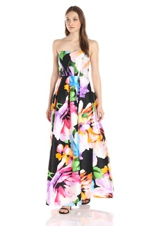 ELLEN TRACY Women's Strapless Sweetheart Neck Printed Gown