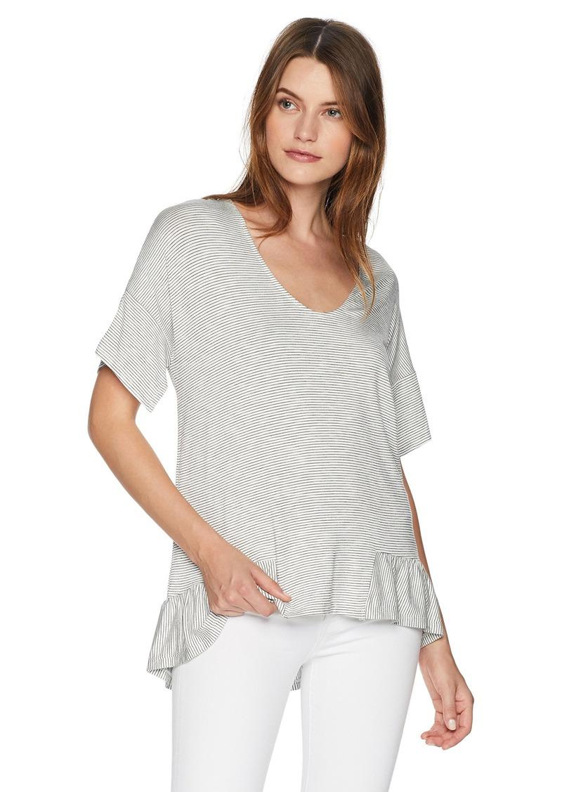 ELLEN TRACY Women's Stripe Knit Top W/Flouncy Hem Cream Black M