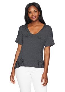 ELLEN TRACY Women's Stripe Knit Top W/Flouncy Hem  S