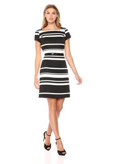 Ellen Tracy Women's Striped Pique Dress Black/Ivory