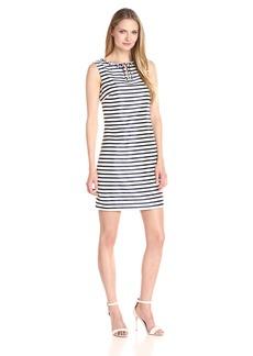 ELLEN TRACY Women's Striped Twill Dress with Embellished Neckline